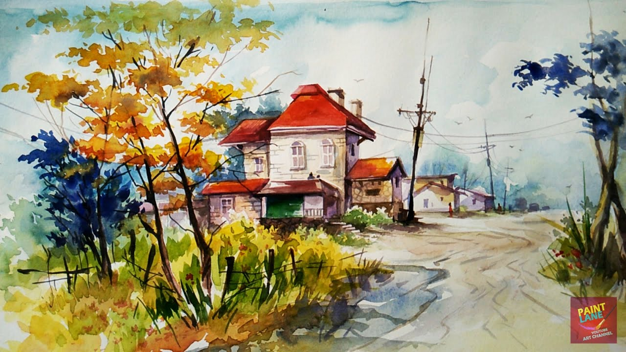 How to color a simple and easy landscape with watercolor by paintlane
