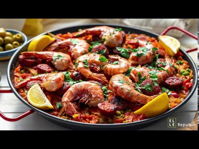 Paella With Prawns And Chorizo Recipe Youtube
