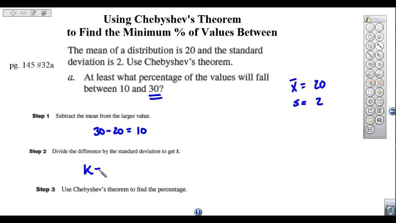 Using Chebyshev's Theorem to Find % of Values Between ...
