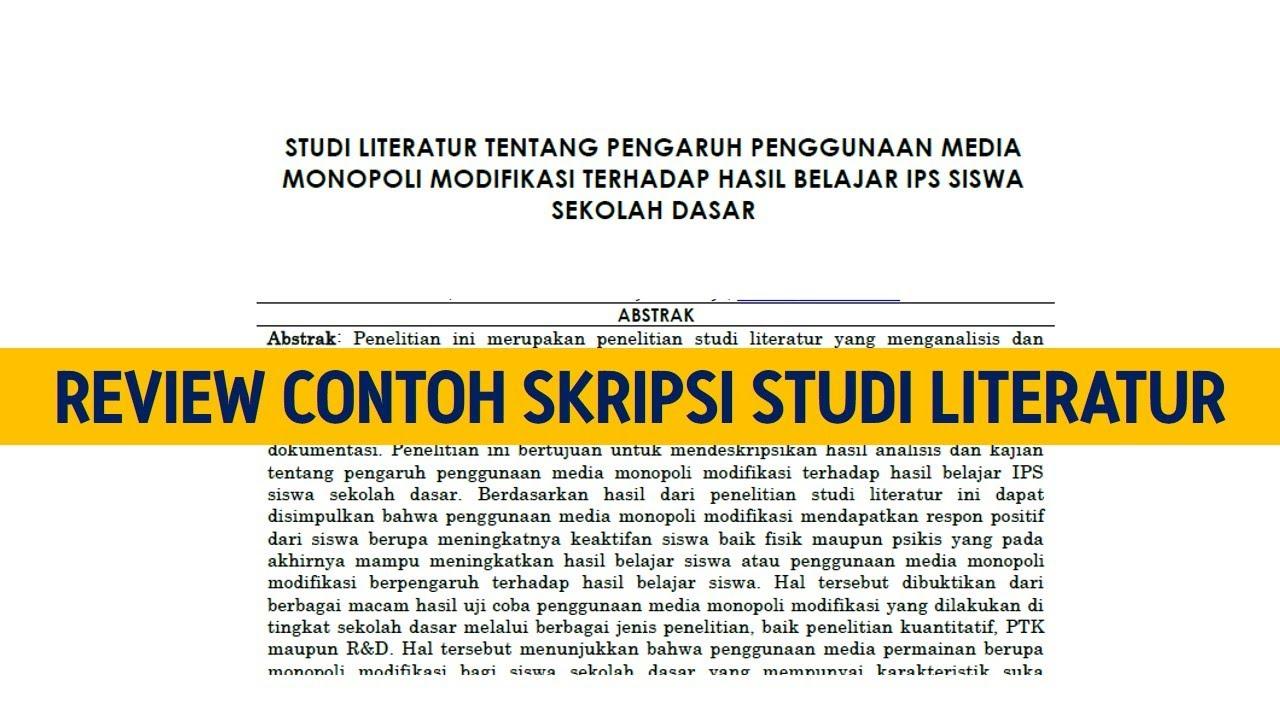 Review Contoh Skripsi Studi Literatur Judul Skripsi Pengaruh Youtube