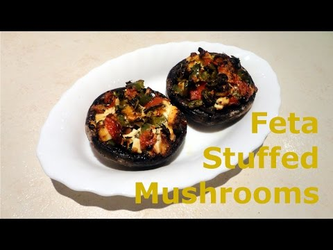 Easy Stuffed Mushrooms With Feta Cheese, Green Pepper, Tomatoes & Oregano