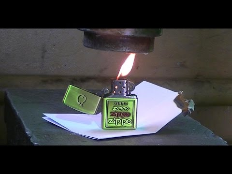 burning Zippo vs Hydraulic Press