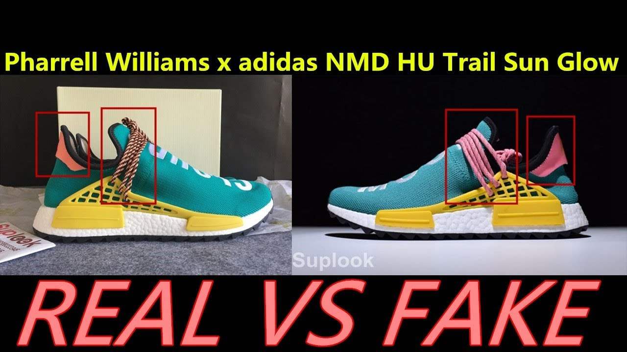34c659b36a5 Real VS Fake Pharrell Williams x adidas NMD HU Trail Sun Glow REviews by  SUPLOOK
