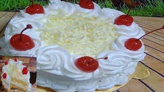 2 টি ডিম দিয়ে চুলায় তৈরি দেড় পাউন্ড হোয়াইট ফরেস্ট কেক রেসিপি ।। White Forest Cake Without Oven