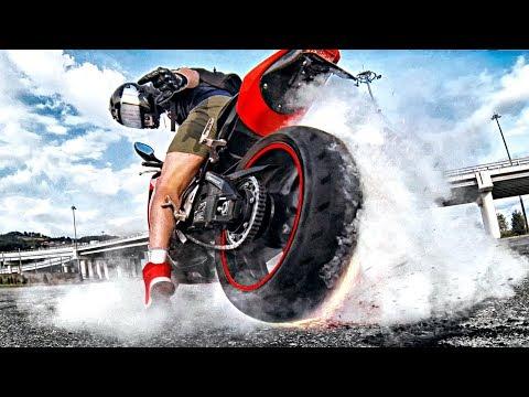 Как надо жечь резину на мотоцикле - Спустило колесо на скорости
