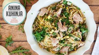 Youtube video Špageti s pokuhano čebulo, pistacijami, rukolo in tunino