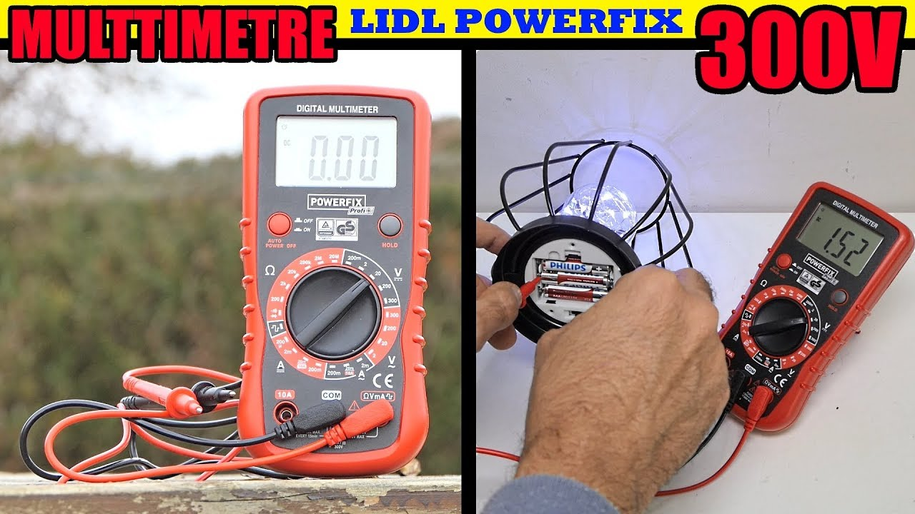 Multimetre Lidl Powerfix Mensurer La Tension Dune Batterie De Voiture Tester Piles 15 V 9 V Etc