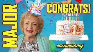 "🎉BETTY WHITE SLOT ""MAJOR CONGRATS"" 🎉on your 97TH BIRTHDAY! - Slot Machine Bonus"