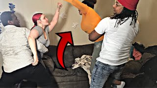 GETTING PUNKED OUT INFRONT OF WIFE PRANK!!! ( Gets real)