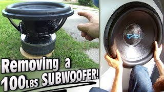 """Removing 100lbs SUBWOOFER w/ 18"""" PSI Platform 5!!! Changing Subs to Dual .7 ohm Voice Coil Wiring"""