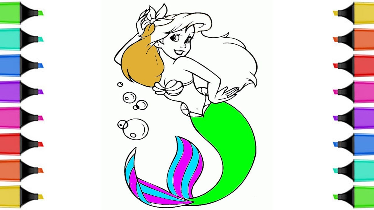 How To Draw And Coloring A Beautiful Mermaid Pages For Girls With