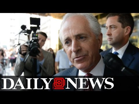 Bob Corker speaks to the press after meeting with Donald Trump