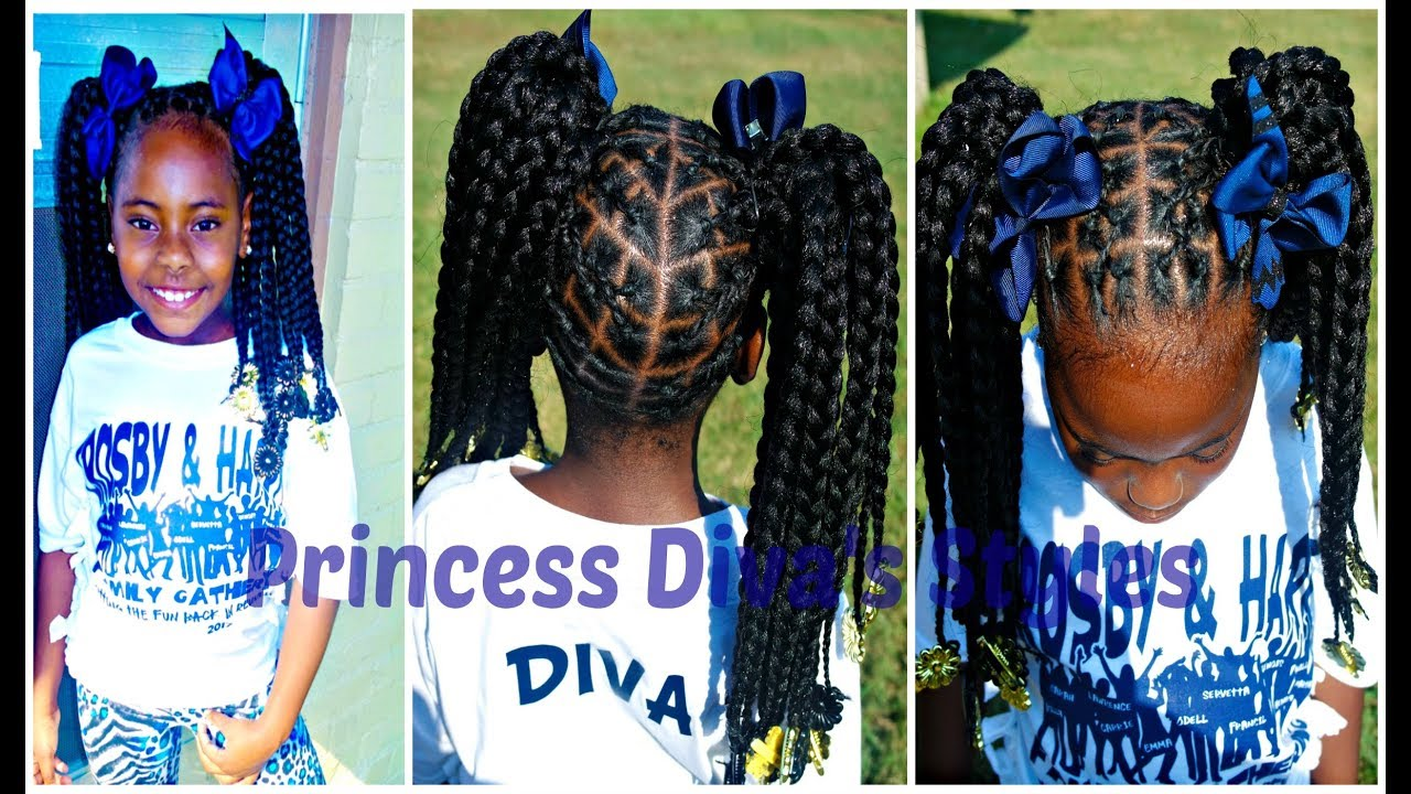 Little Girls Crochet Hairstyle Using Braided Crochet Hair