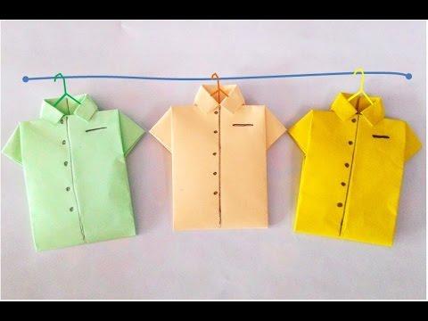 Origami-Shirt: How to make paper shirt? วิธีพับเสื้อกระดาษ #PlayCraft#