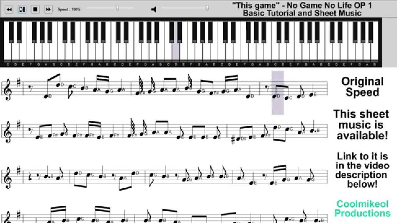 No Game No Life This Game Piano Tutorial