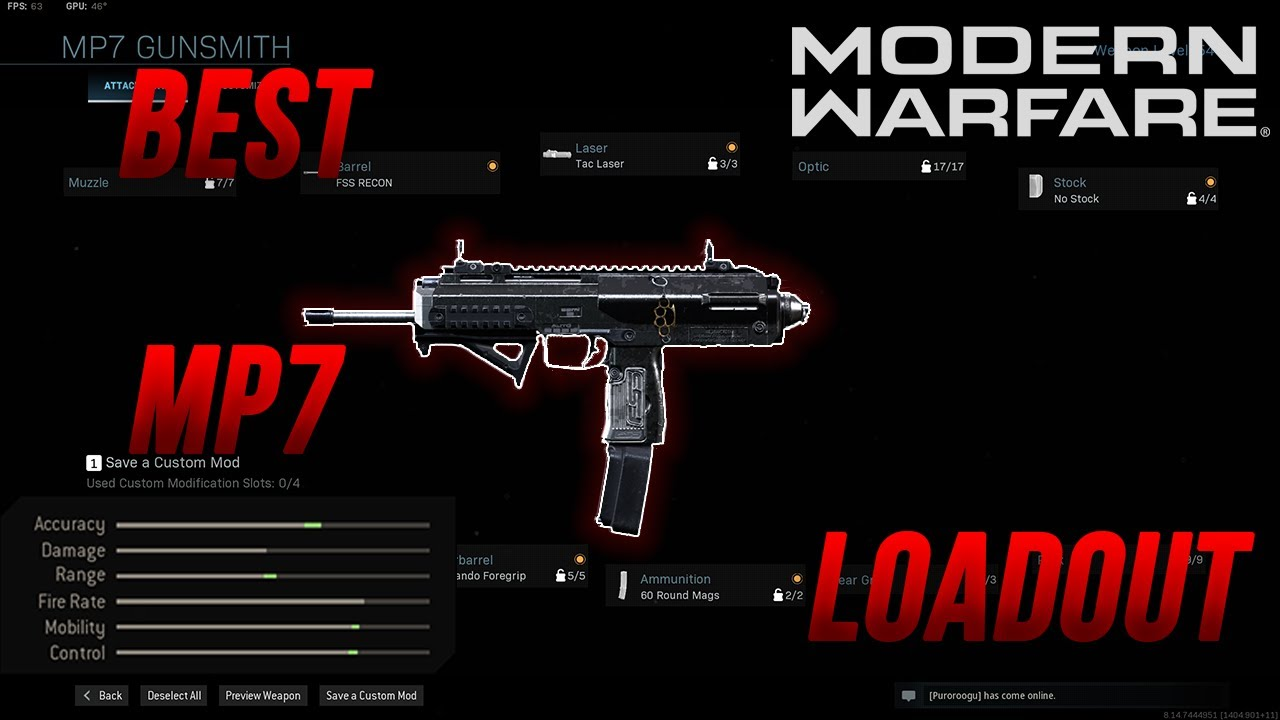 This Is The Best Class For Mp7 Loadout Modern Warfare Rushing Youtube