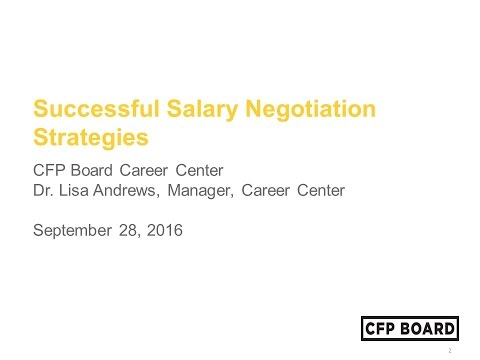 CFP Board Career Center Webinar: Successful Salary Negotiation Strategies