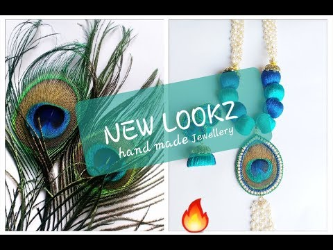Silk thread jewellery making with real peacock feathers|| beautiful set making
