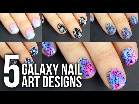 5 EASY Galaxy Nail Art Designs DIY Tutorial || KELLI MARISSA