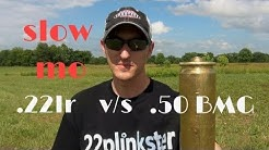 Can A 22lr Bullet Penetrate A .50BMG Casing?!   Slow Motion Trick Shooting