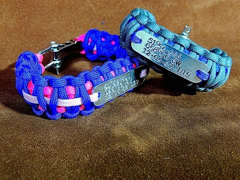 Paracord Survival Bracelet With Metal Stamped Id Tag Easy To Make Tutorial