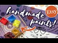 I AM IMPRESSED! Trying HANDMADE WATERCOLORS FROM ETSY | Artemis Studio Paints Watercolor Review