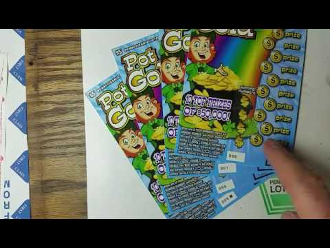 Four pot of gold.  Pa lottery scratch tickets.
