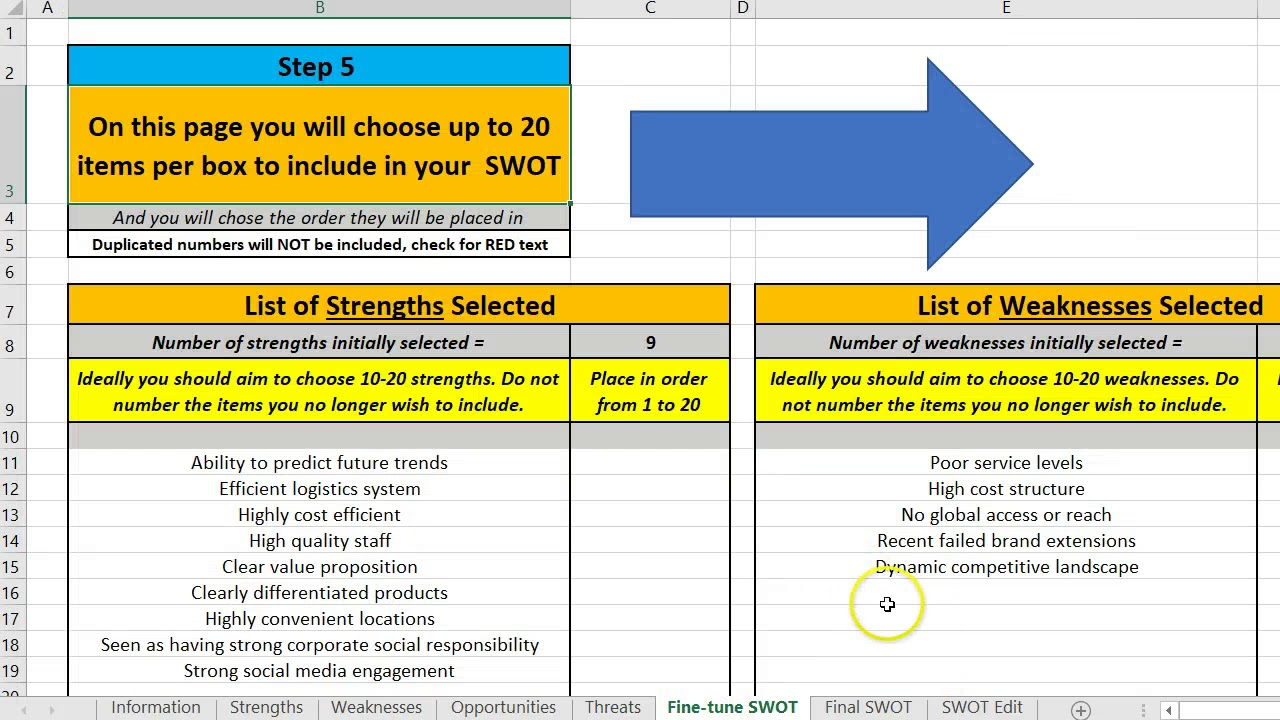 Using the free swot analysis excel template youtube using the free swot analysis excel template ccuart Gallery