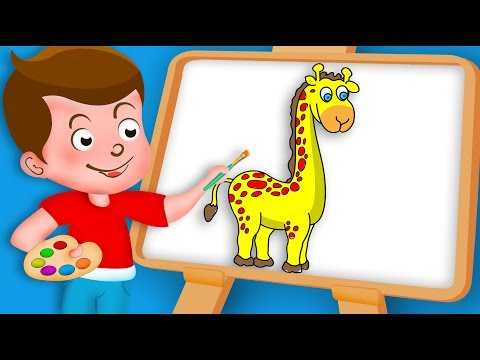 Drawing Giraffe Paint And Colouring For Kids | Kids Drawing TV