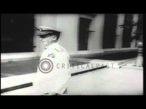 US Navy Fleet Admiral William D Leahy takes his post as Chief of Staff to US Pres...HD Stock Footage