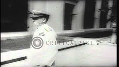 US Navy Fleet Admiral William D Leahy takes his post as Chief of Staff to US Pres.HD Stock Footage