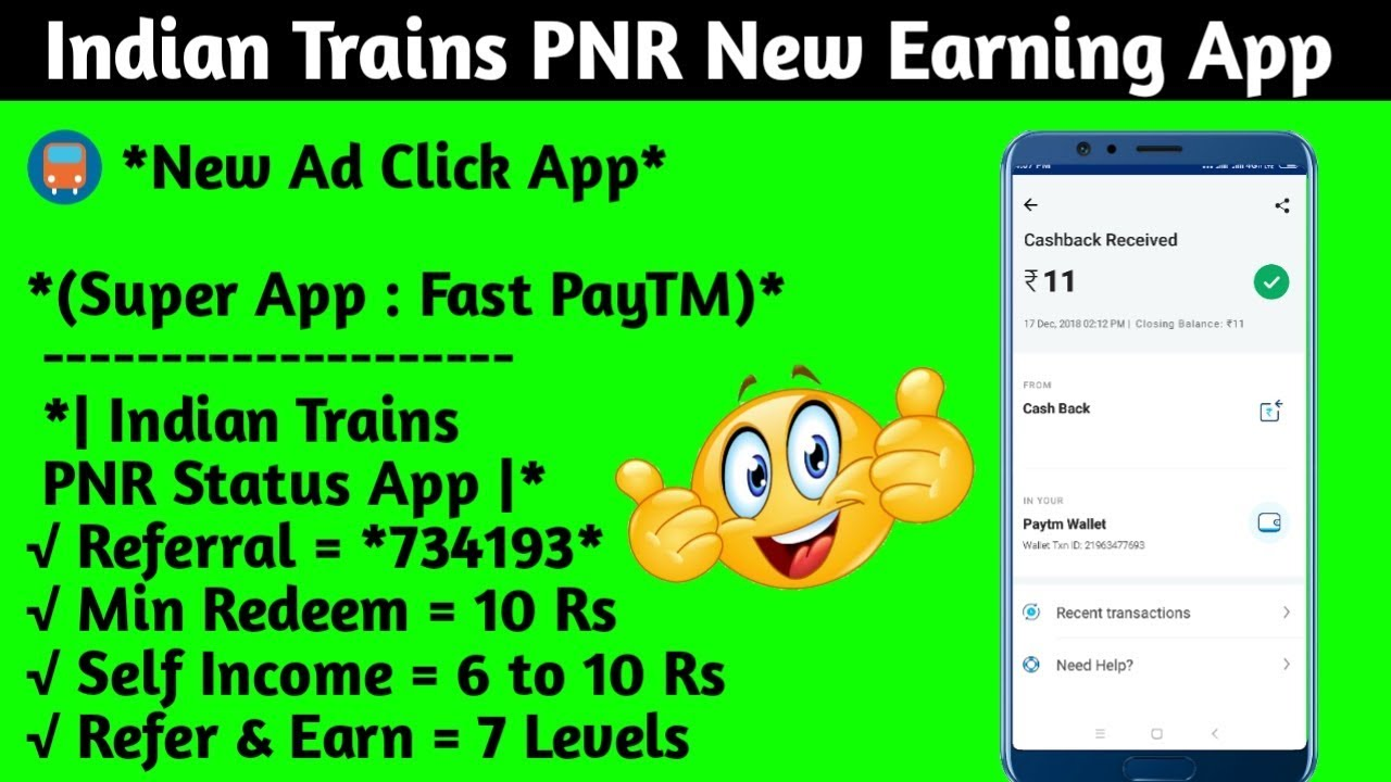 New Earn Money Indian Trains App unlimite 10/-10/-10/- Rs
