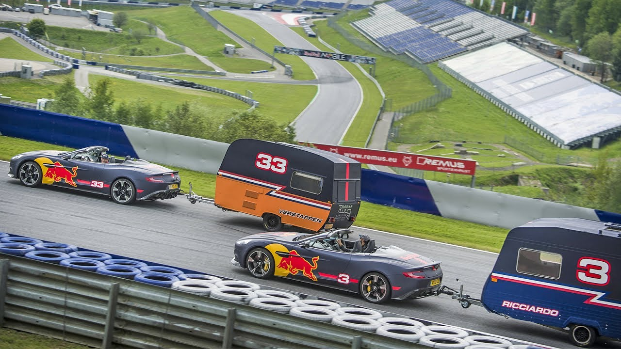 A Caravan Race with an F1 twist! Daniel Ricciardo and Max Verstappen take it to the Red Bull Ring - YouTube