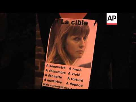 Belgian paedophile accomplice Michelle Martin arrives at convent; protesters