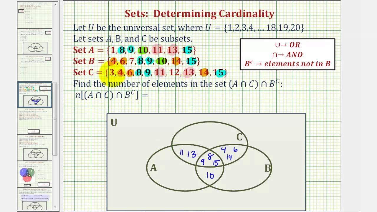 ex determine cardinality of the intersection of three sets using a venn diagram youtube [ 1280 x 720 Pixel ]