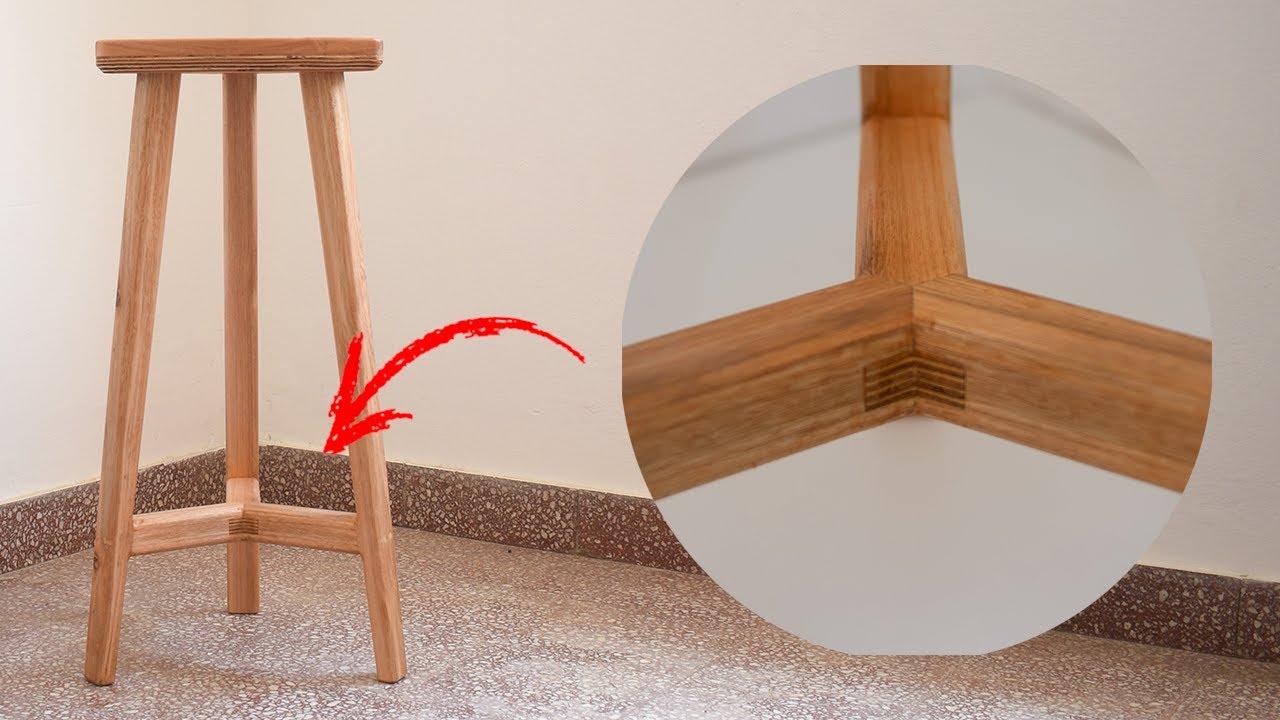 COMO HACER ❓ Moderna BANQUETA / TABURETE sin CAJA ni ESPIGA --- how to make a modern bar stool