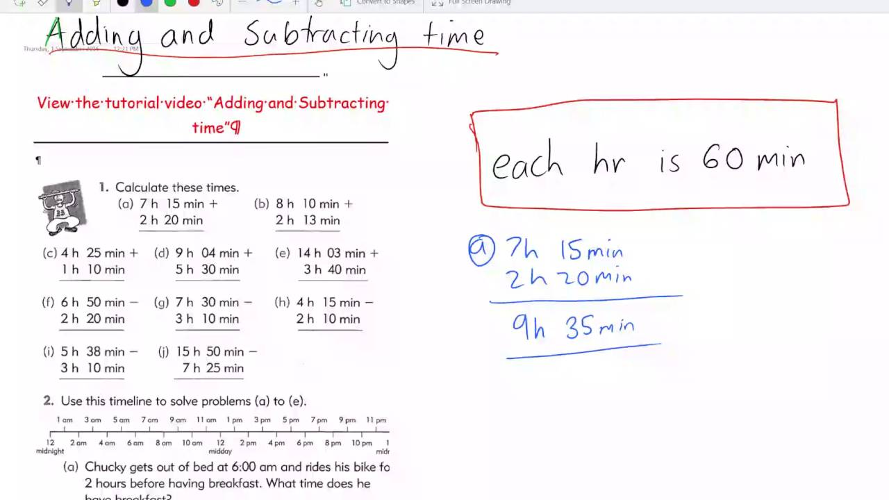 worksheet Subtracting Time adding and subtracting time youtube time