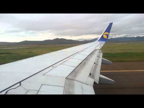 MIAT Mongolian airlines take off from Chinggis Khaan International airport
