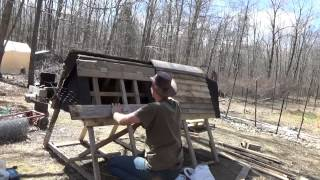 Building My Pallet Wood Chicken Tractor Door On A Fine Sunny Day