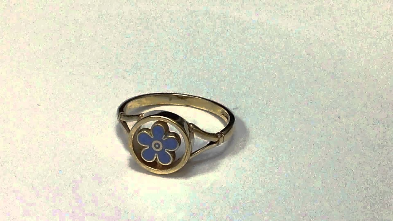 9ct Yellow Gold Forget me not Masonic Ring with Enamel