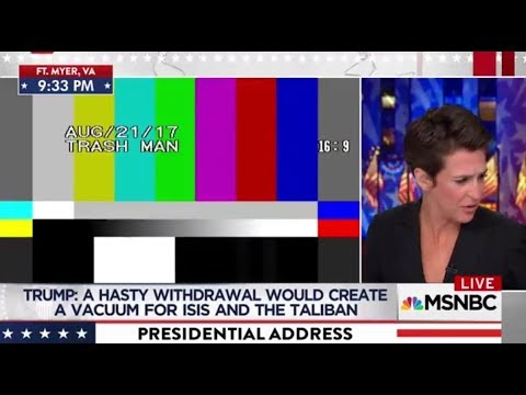 Thumbnail: MSNBC loses Trump speech feed -- 'Trash Man' text appears on screen