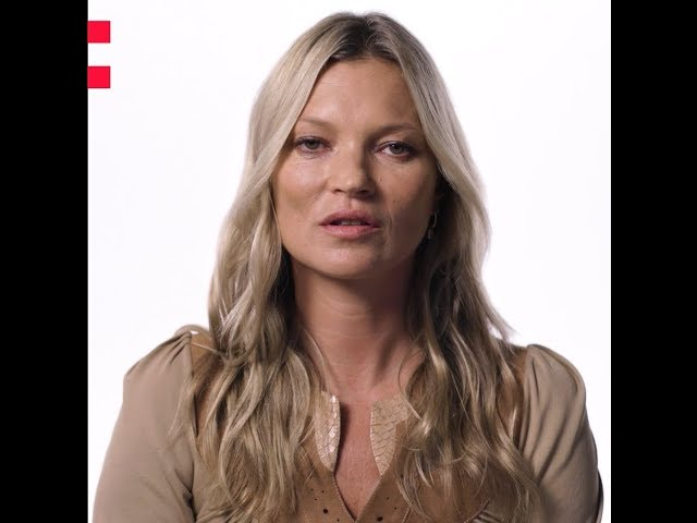 Frame of a video of Kate Moss speaking about the Odyssey project