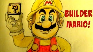 How to Draw Builder Mario from Mario Maker