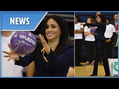 Meghan Markle shows her sporty side playing catch in four-inch heels with Prince Harry