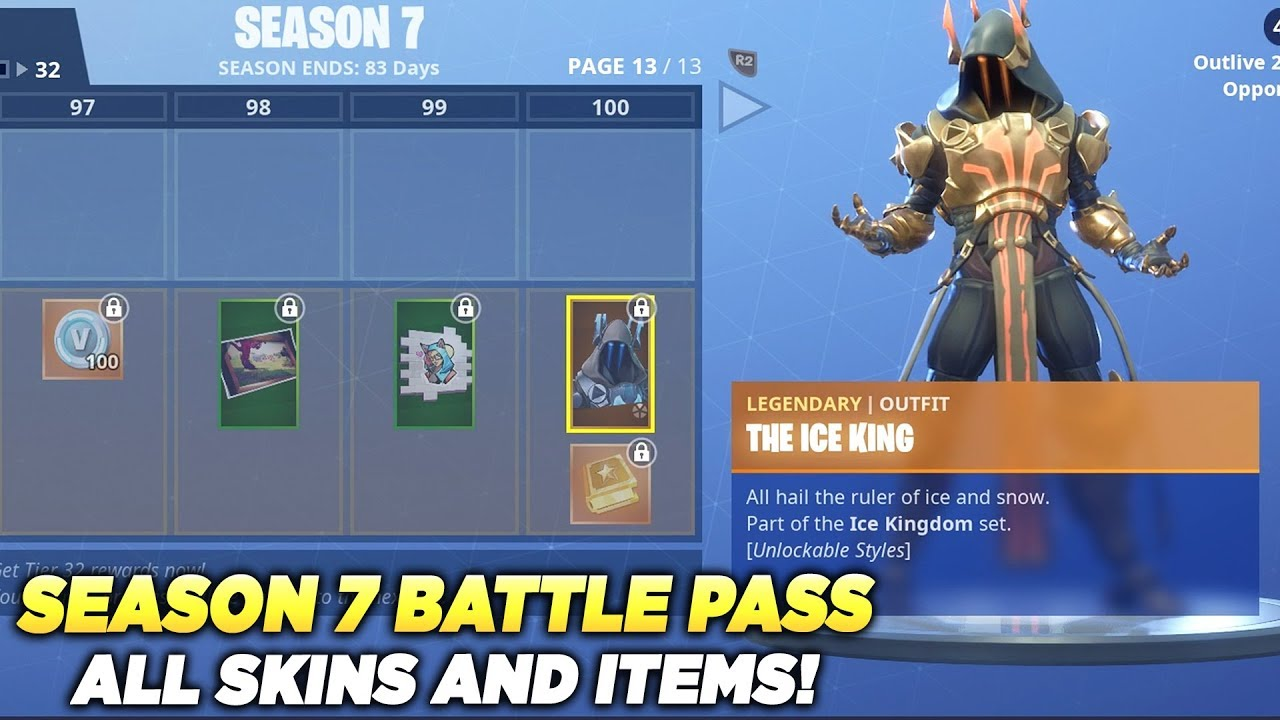 All Skins And Items Season 7 Battle Pass Tier 100 Fortnite Battle