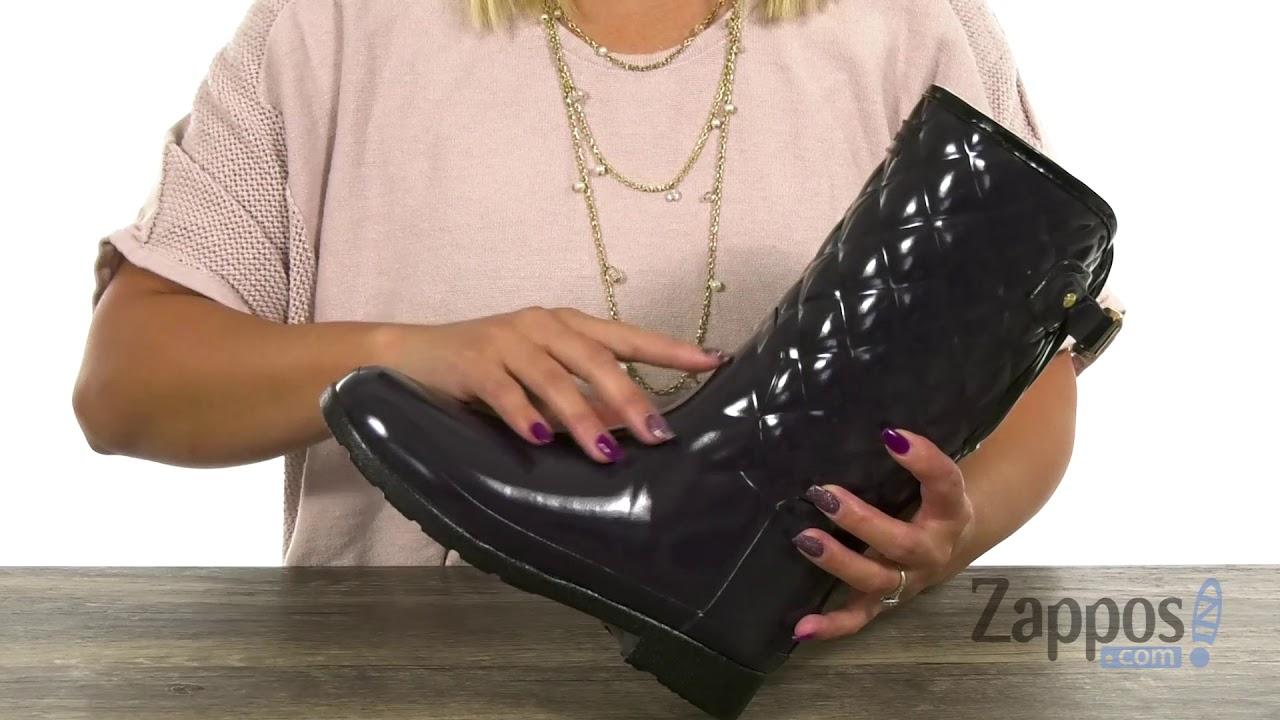 98fa993f0656 Hunter Refined Gloss Quilt Short Rain Boots SKU  9182593 - YouTube