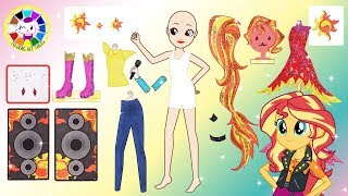 Paper Doll My little pony Sunset Shimmer dress up for Equestria girls Rainbow Rocks Song Papercraft