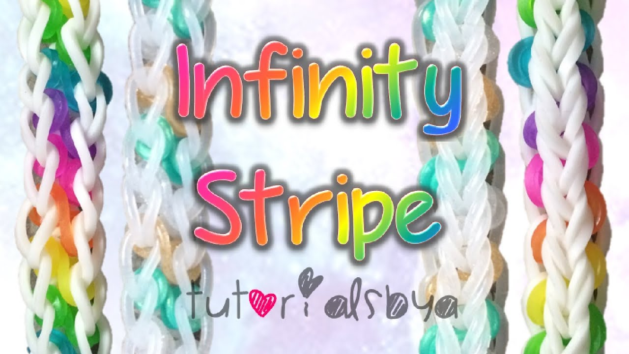 New Reversible Infinity Stripe Monster Tail Rainbow Loom Bracelet Tutorial   How To  Youtube
