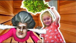 Прохождение уровня с сауной в Scary Teacher! К Мисс Ти приехал ее пупсик Боб из игры Scary Stranger.