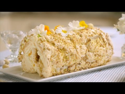 Lemon & Pistachio Meringue Roulade recipe Mary Berry's Easter Feast: Episode 2 BBC Two